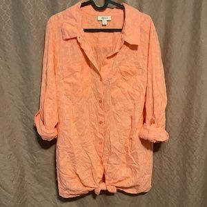 Style & co, 100% cotton, long sleeve top, 1X, pink